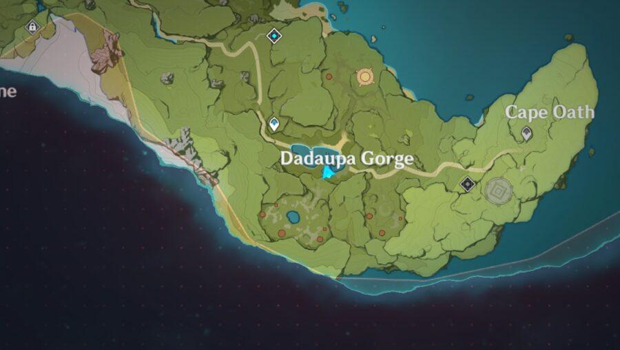 Une capture d'écran de la carte de Genshin Impact indiquant où se trouve la gorge de Daduapa
