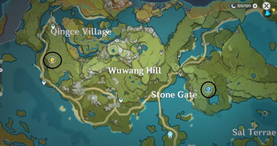 Une capture d'écran de la carte à Genshin Impact, montrant l'emplacement de Ley Lines