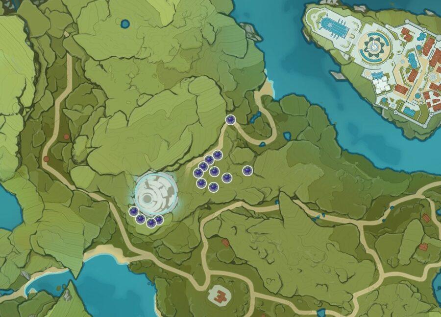Une capture d'écran de l'endroit où trouver Wolfhook dans Genshin Impact.
