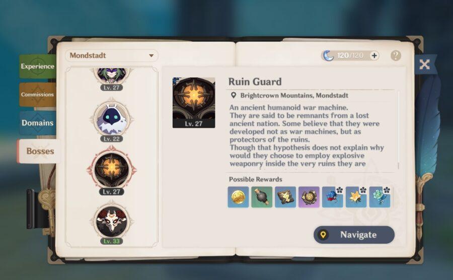 Une capture d'écran du manuel de l'aventure, montrant l'onglet Bosses
