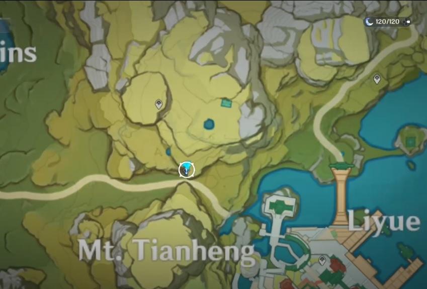 Une capture d'écran de la carte dans Genshin Impact, montrant l'emplacement du donneur de quête Childish Jiang