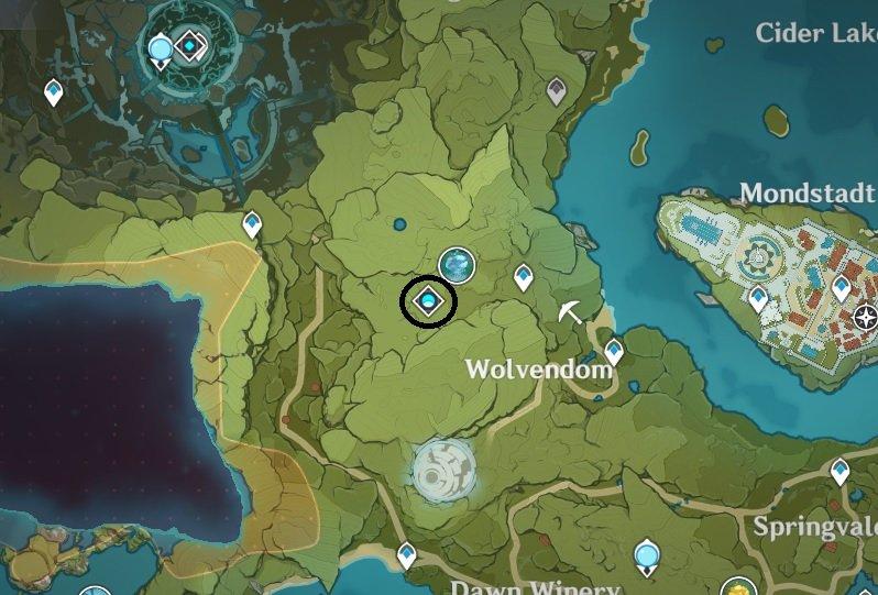 Une capture d'écran de la carte des impacts de Genshin montrant l'emplacement du domaine abyssal du jardin Celicia