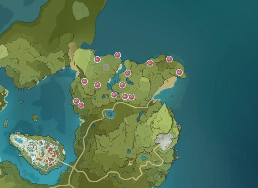 Une capture d'écran de l'endroit où trouver Valberry dans Genshin Impact.