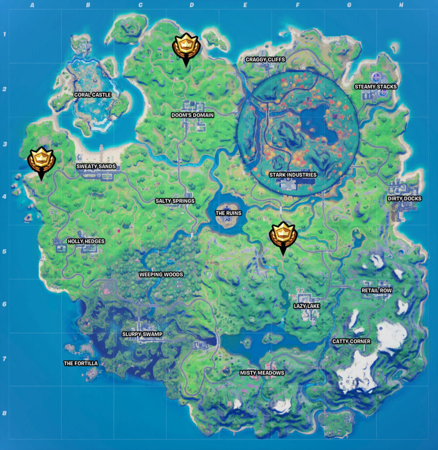 Carte de localisation de Fortnite Witch's Hut