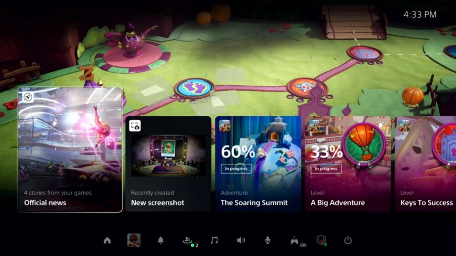 capture d'écran du menu ps5