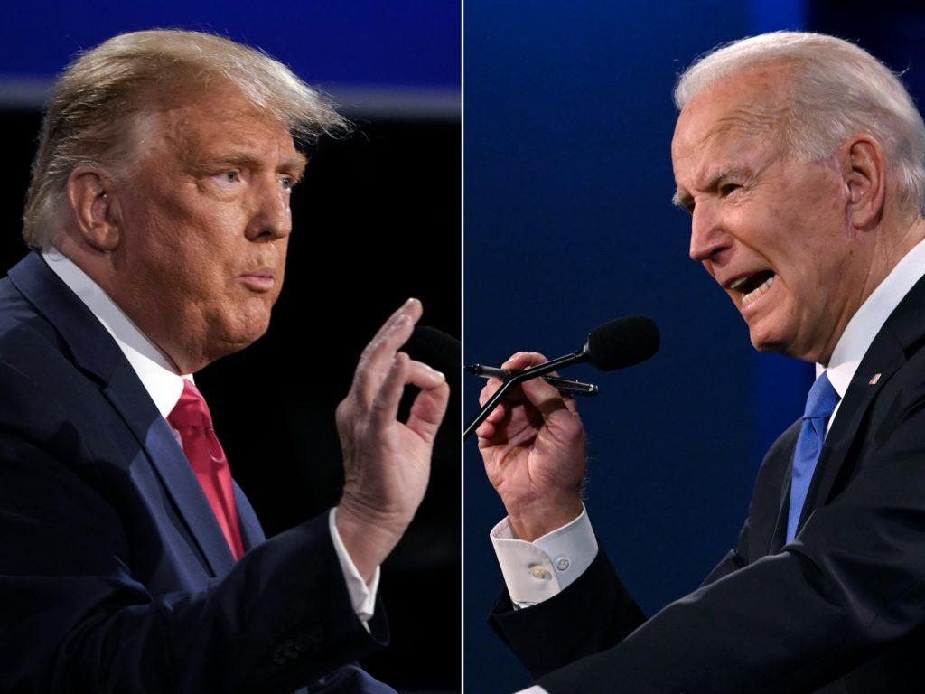 Le dernier match de combat de Joe Biden et Donald Trump a vu les droits des LGBT + ne pas encore parler.  Ils ne l'ont pas fait depuis 2008, prévient un groupe de surveillance de haut niveau.  (Brendan Smialowski et JIM WATSON / AFP) (Photo de BRENDAN SMIALOWSKI, JIM WATSON / AFP via Getty Images)