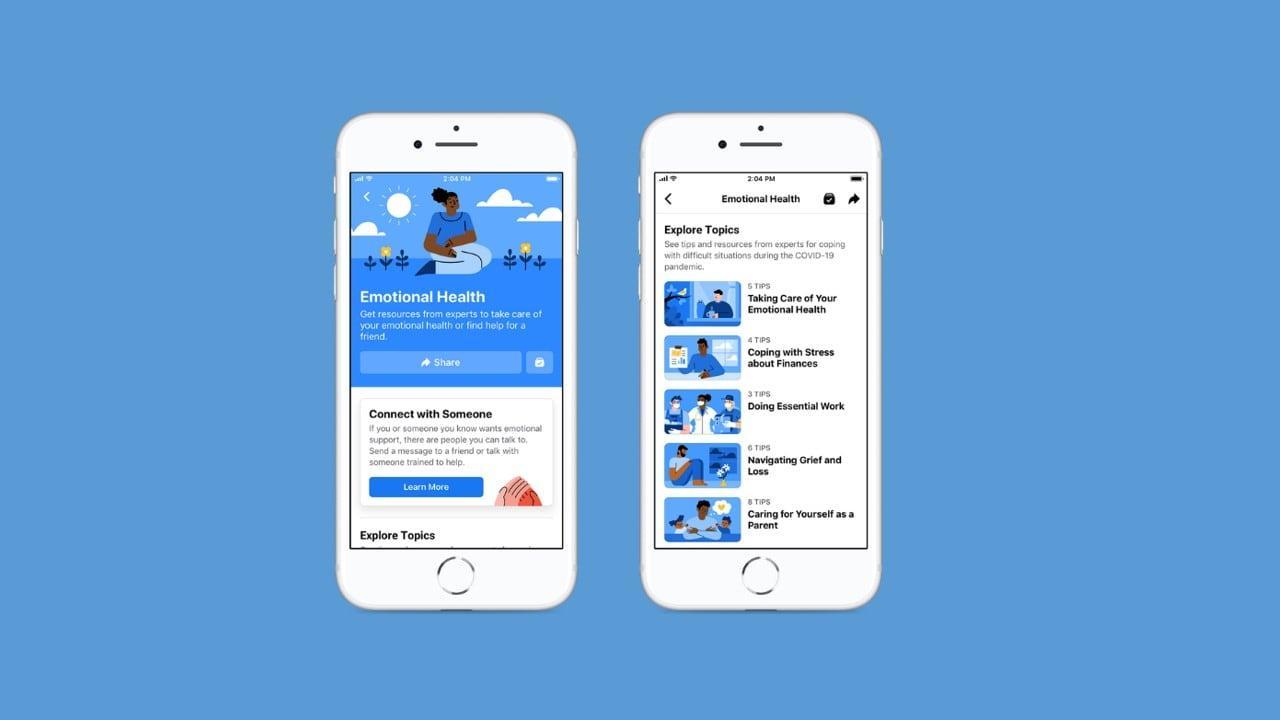 Le nouveau centre de ressources sur la santé émotionnelle de Facebook permettra aux utilisateurs de demander l'aide d'experts en cas de besoin