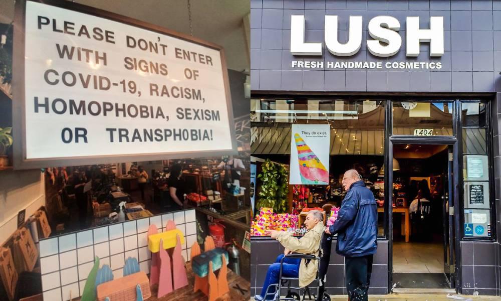 Façade de magasin luxuriante / lecture de panneaux: veuillez ne pas entrer dans notre magasin avec des signes de Covid-19, de racisme, d'homophobie, de sexisme ou de transphobie