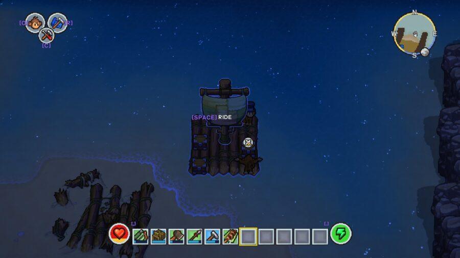 Une capture d'écran du radeau sur la mer dans The Survivalists
