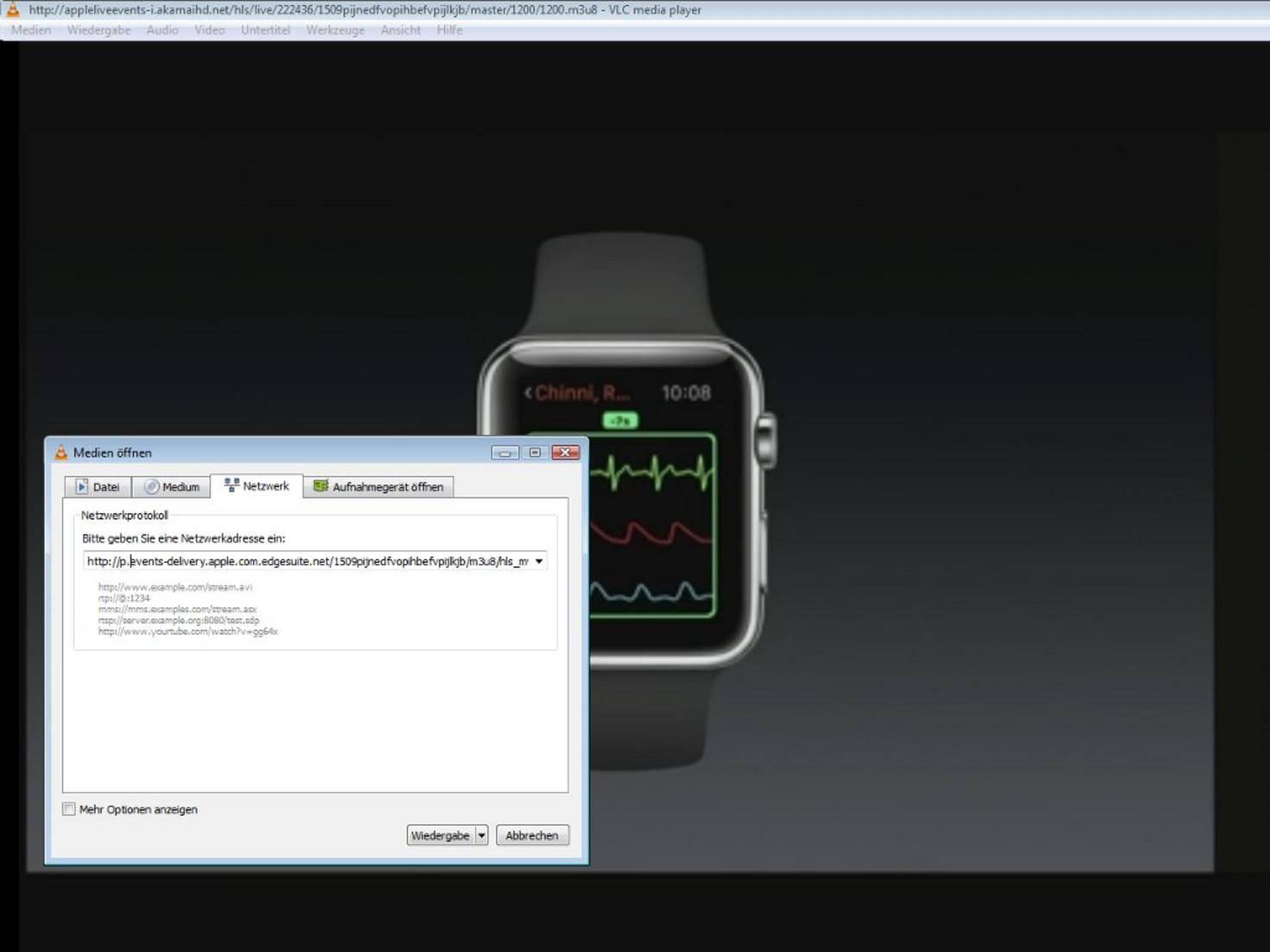 Diffusion en direct de l'Apple Keynote via le lecteur VLC
