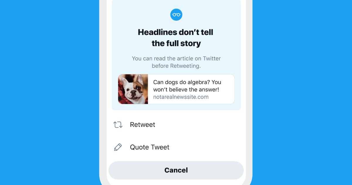 Invite de lecture d'article sur Twitter