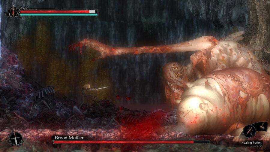 Une capture d'écran du deuxième boss dans Vigil: The Longest Night - Brood Mother