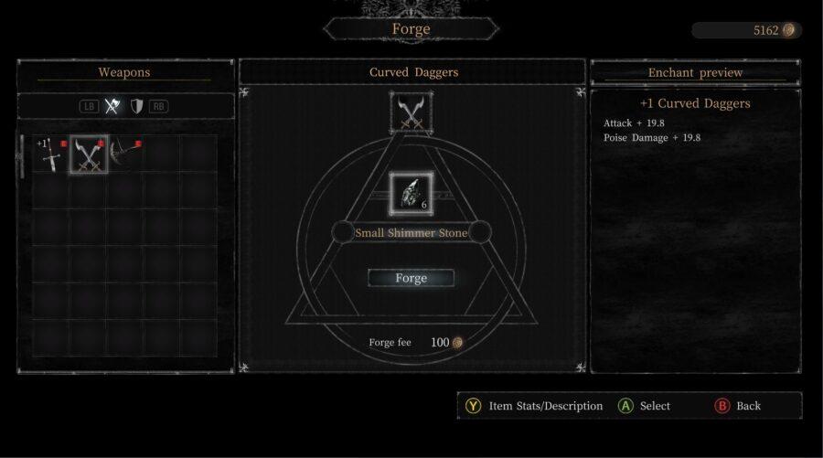 Une capture d'écran du menu Forger dans Vigil: The Longest Night