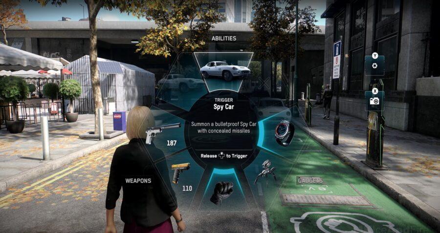 Une capture d'écran de la roue de capacité des agents d'espionnage montrant la capacité d'invocation de voiture d'espion