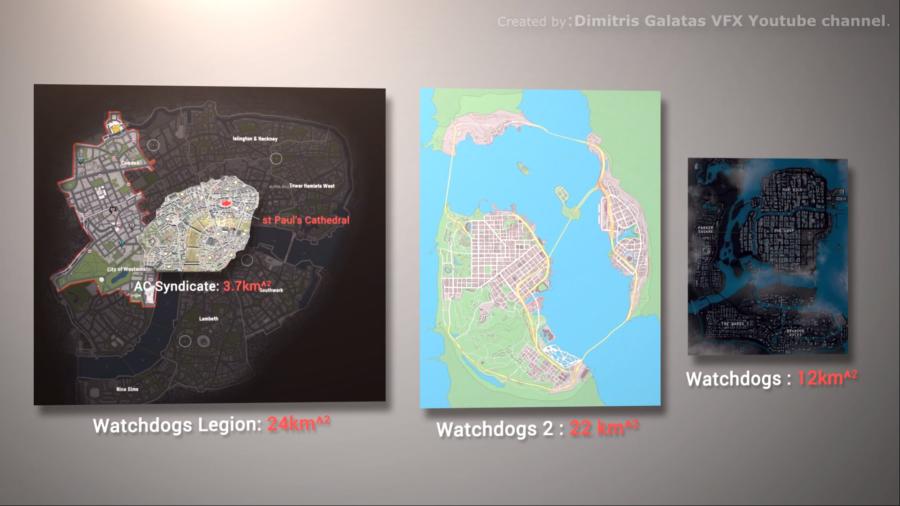 Une capture d'écran comparant le monde des trois jeux WAtch Dogs en tailles