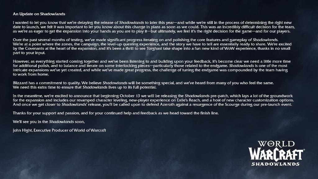 World of Warcraft annonce le retard de Shadowlands, son extension tant attendue