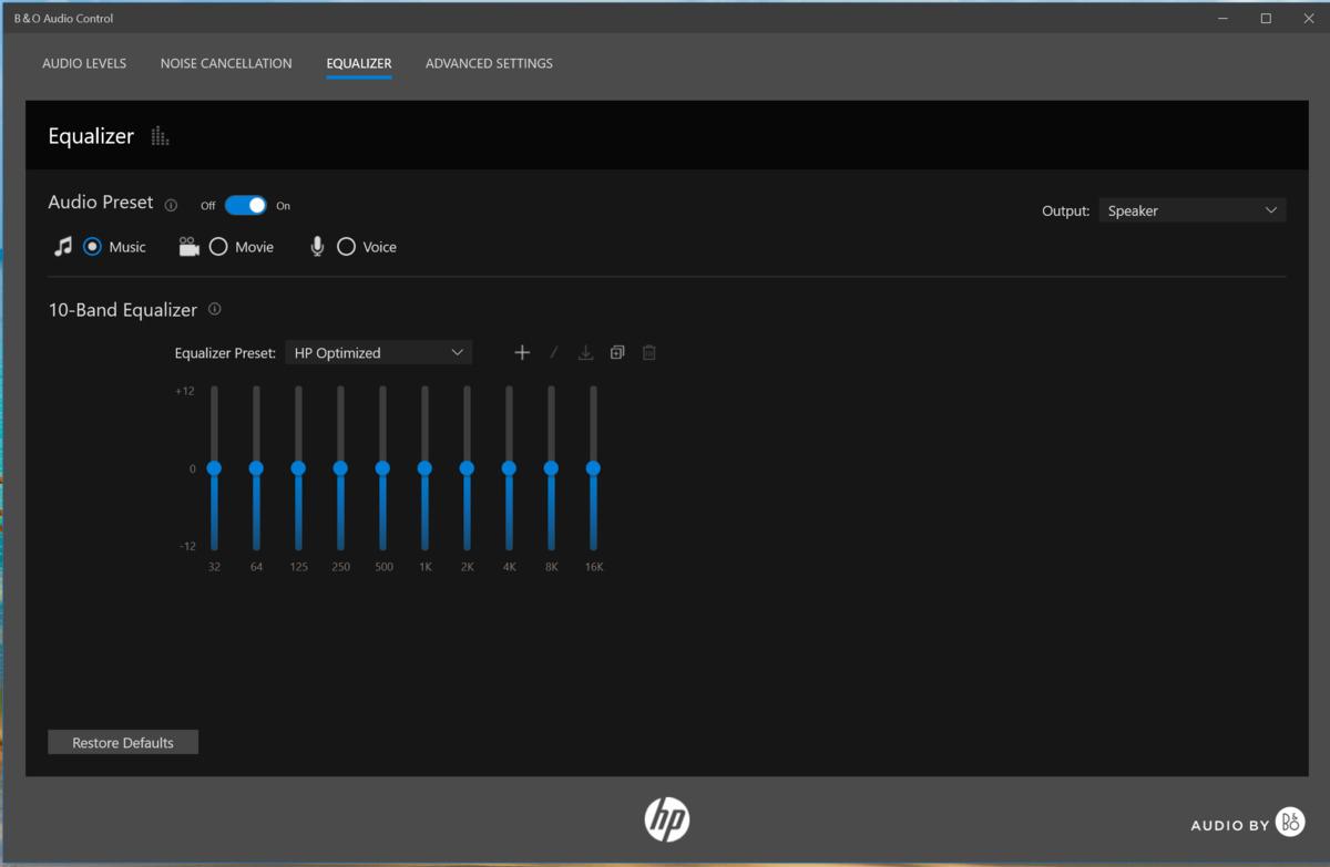 Commandes audio HP Pavilion x360 14 bo