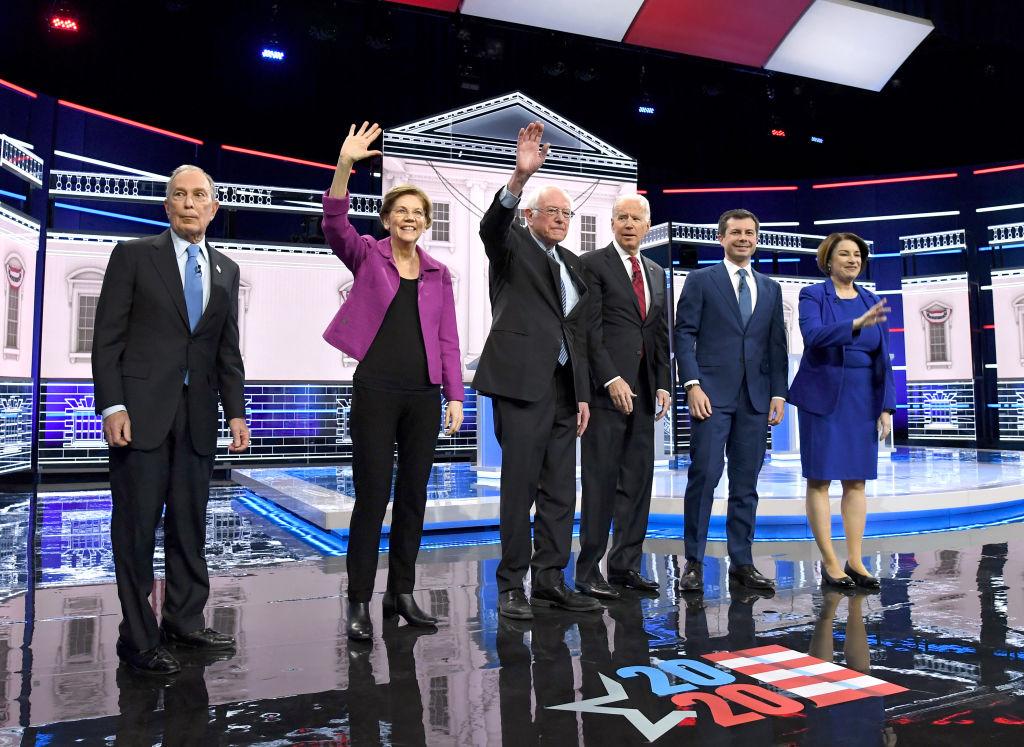 Candidats démocrates à la présidentielle Mike Bloomberg, Elizabeth Warren, Bernie Sanders, Joe Biden, Pete Buttigieg et Amy Klobuchar