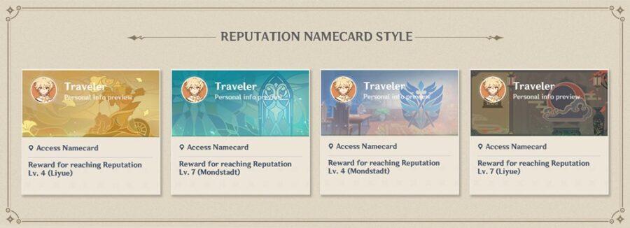 Une photo montrant les nouvelles cartes de visite fournies avec le système de réputation à venir sur Genshin Impact dans la mise à jour 1.1