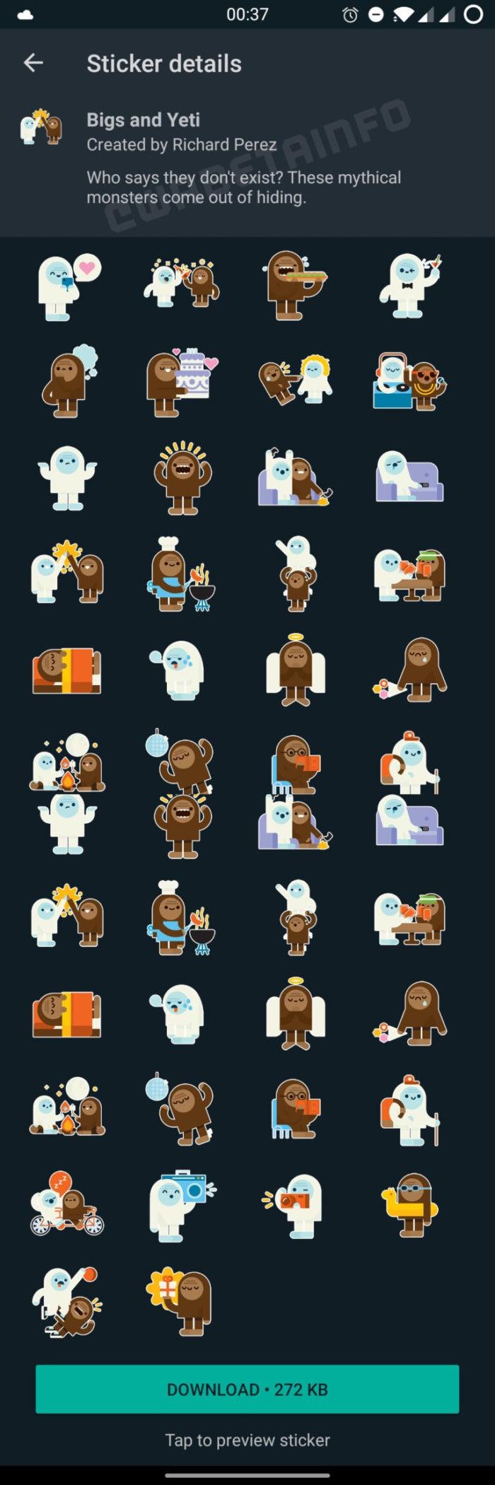 Les nouveaux stickers de Bigs et du Yeti pour WhatsApp