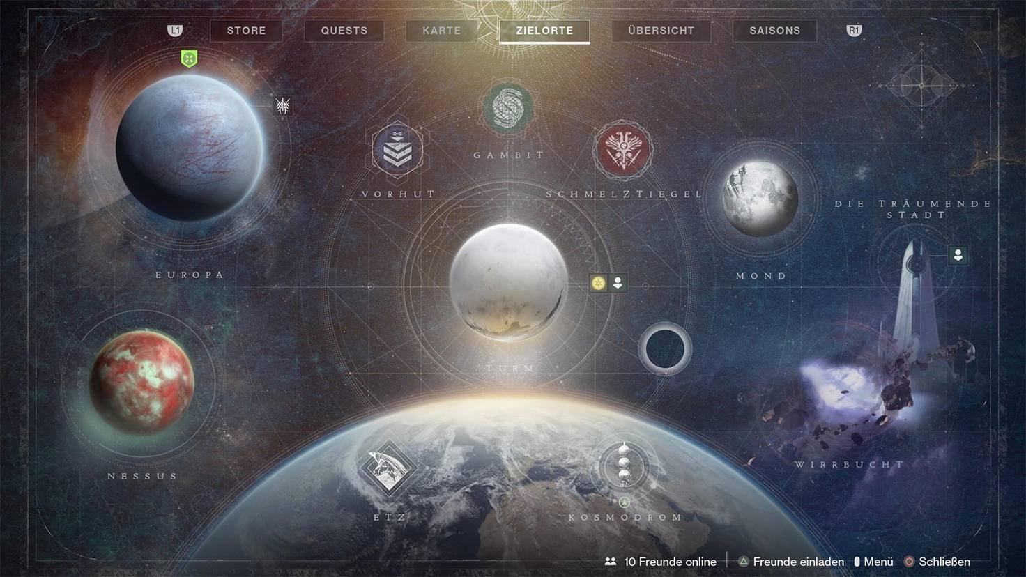 Carte Destiny 2 Beyond Light avec destinations