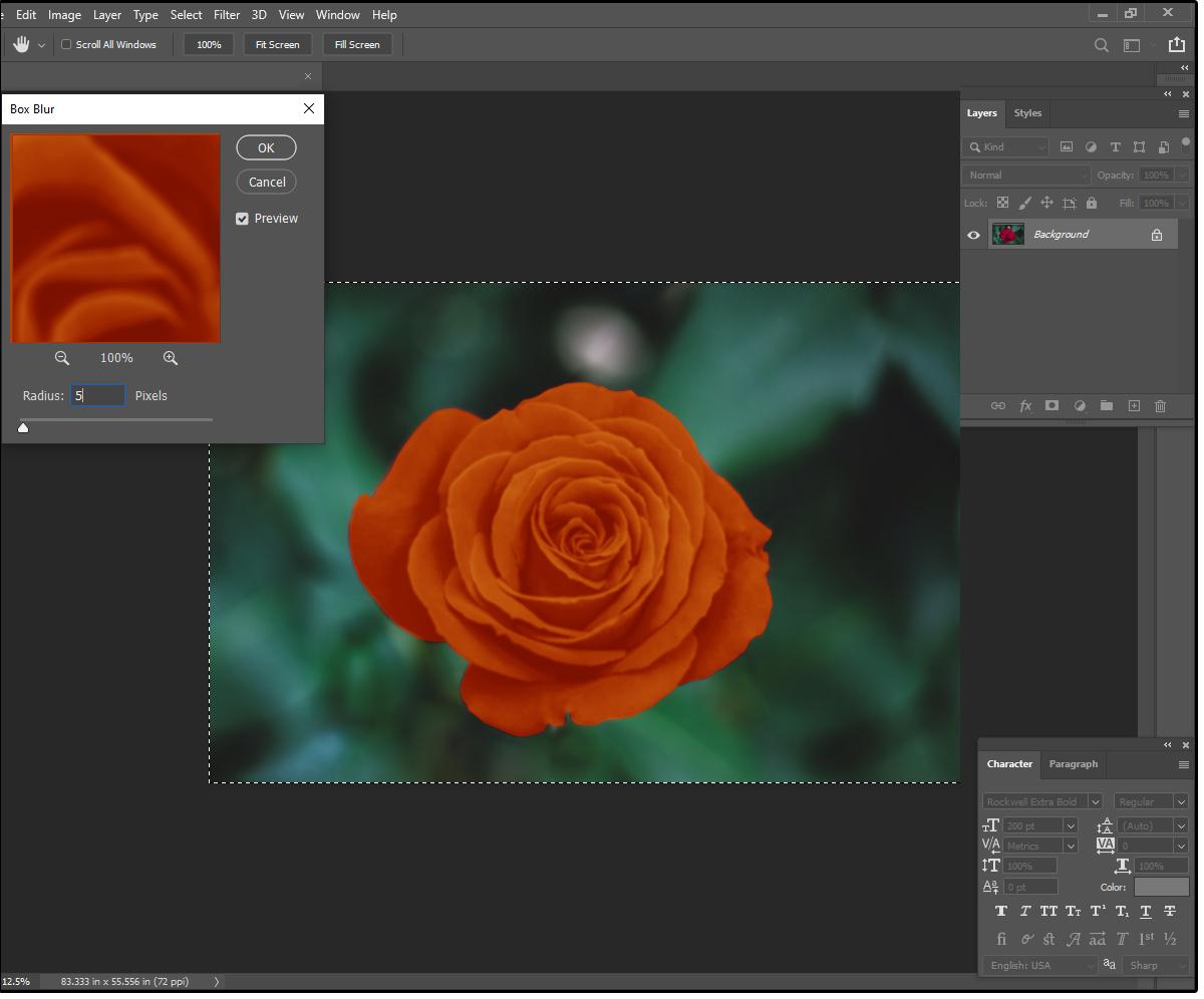 03 Utilisez le flou de la boîte de photoshops pour créer un effet soyeux doux avec des bords brillants