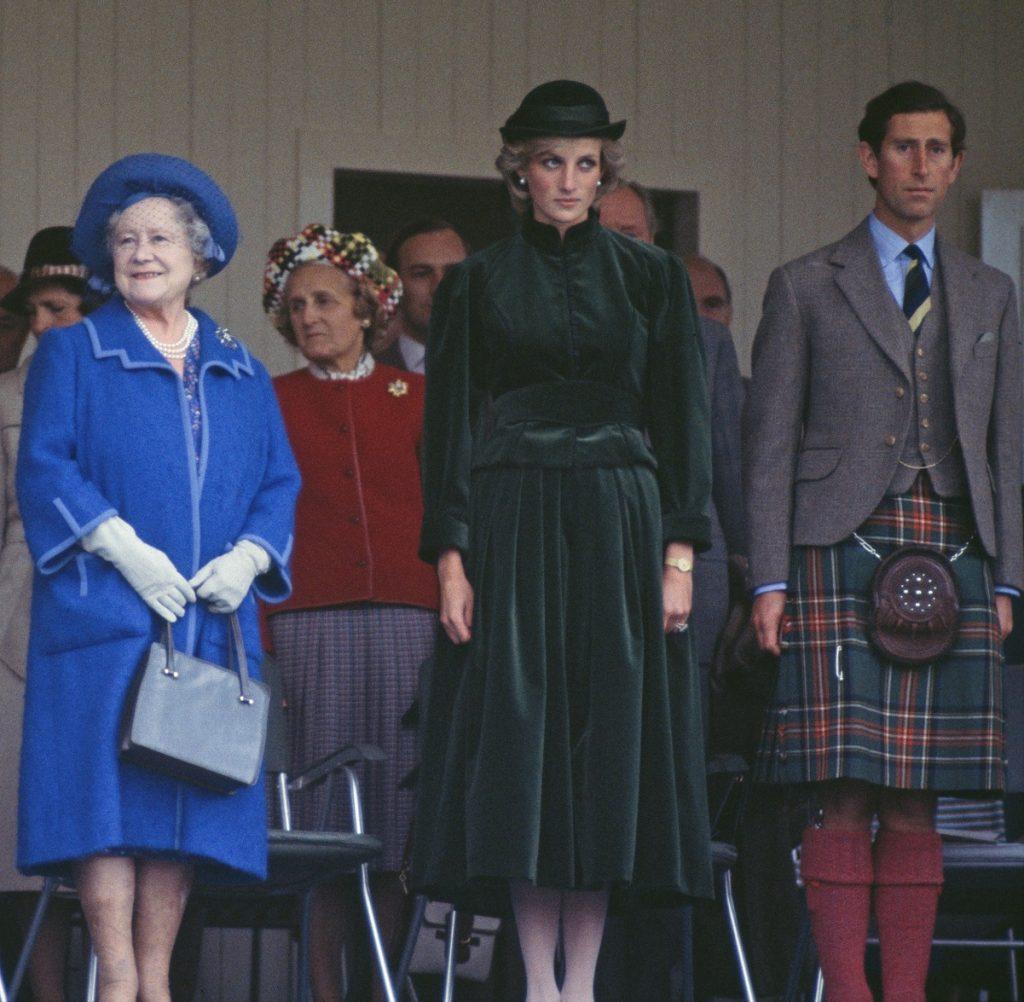 La reine mère, la princesse Diana et le prince Charles