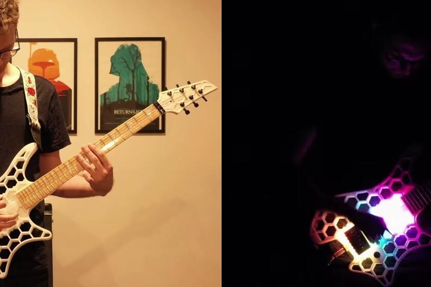 Cette guitare imprimée en 3D s'illumine au rythme de la musique grâce à des LED synchronisées avec une carte mère