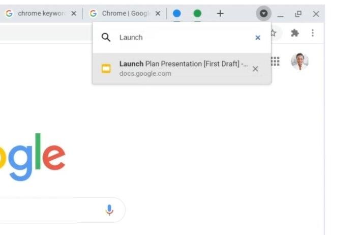 Rechercher des onglets dans Chrome