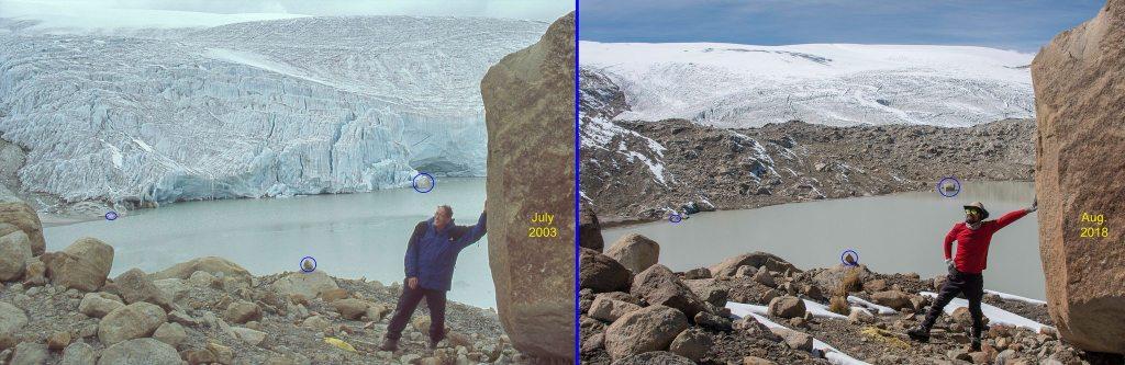 Deux photos prises au même endroit à 15 ans d'intervalle montrent l'ampleur du recul des glaciers sur la plus grande calotte glaciaire tropicale du monde à Quelccaya, au Pérou.  Doug Hardy, CC BY-SA