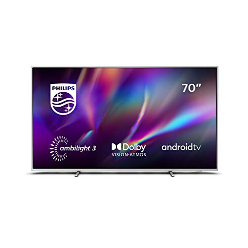 Philips Ambilight TV 70PUS8505 / 12, Smart TV 70 pouces (4K UHD, P5 Perfect Picture Engine, Dolby Vision, Dolby Atmos, commande vocale, Android TV), argent clair (modèle 2020/2021)