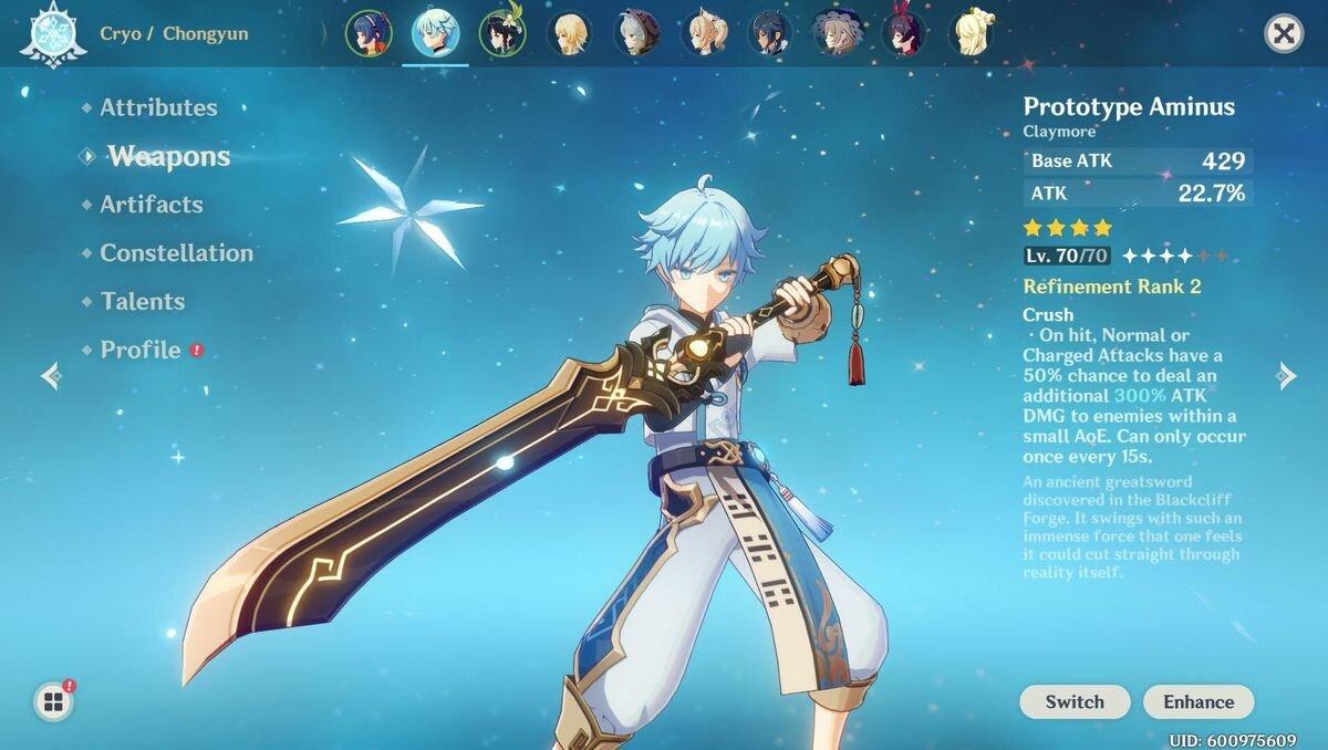 épées d'impact de genshin claymore
