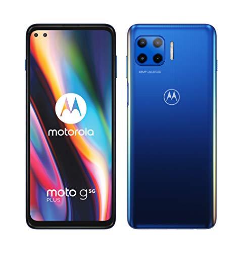 """Motorola Moto G 5G Plus - Smartphone 6,7 """"(5G FHD +, processeur Qualcomm Snapdragon SD765, système à 4 caméras 48 MP, batterie 5000 mAH, Double SIM, 6/128 Go, Android 10), Bleu"""