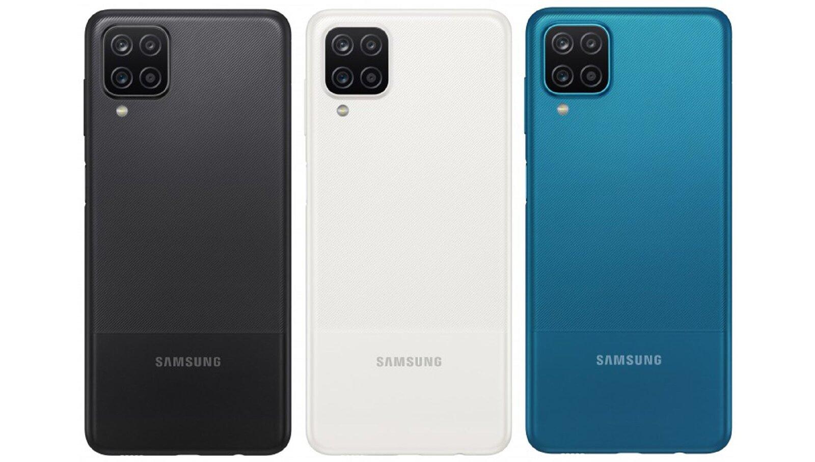 L'arrière du Samsung Galaxy A12 en trois couleurs