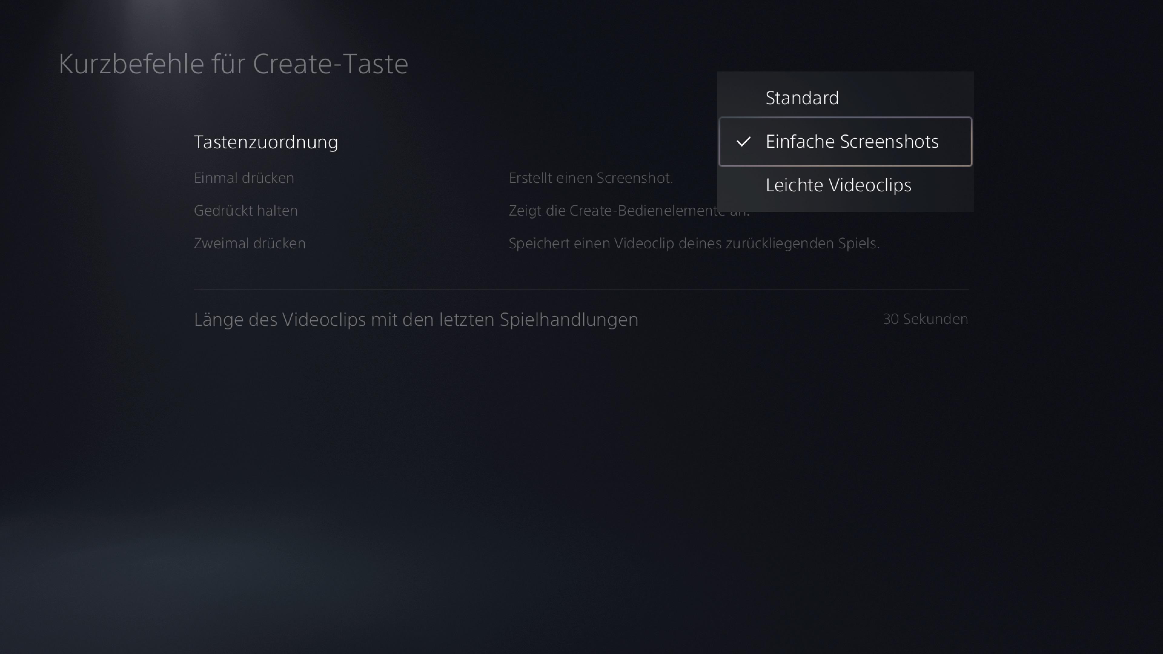 Paramètres des captures d'écran PS5 Bouton Créer