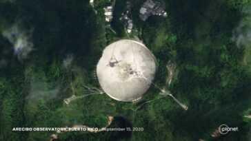 Radiotélescope Arecibo, Endommagé Au Delà De Toute Réparation, Vu De L'espace