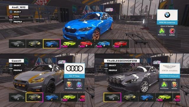 J'ai trois voitures actives parce que je n'ai que trois contrôleurs, mais vous pouvez jouer en écran partagé avec quatre joueurs.  De plus, c'est mon frère de 16 ans dont le compte PSN est intitulé theBLESSEDMOFO18, pour des raisons que je ne connais pas.  Capture d'écran de DIRT 5