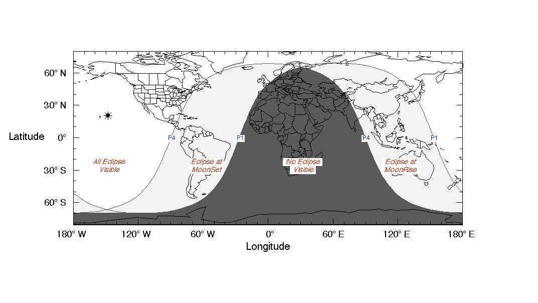Ce guide de visibilité de l'expert en éclipse Fred Espenak de la NASA montre la région de visibilité pour l'éclipse lunaire pénombre du 29 au 30 novembre 2020.