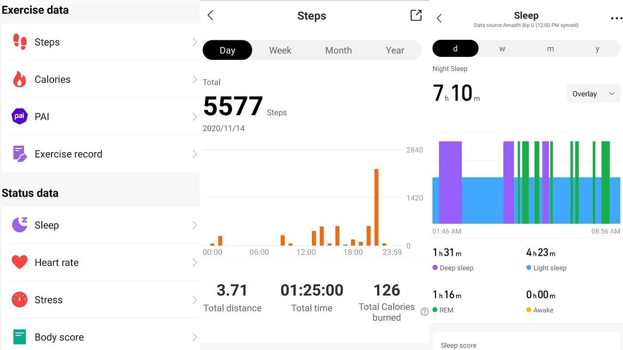 Étapes et données de sommeil dans l'application.  Image: Auteur fourni
