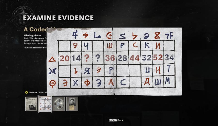 Une capture d'écran du message codé dans Call of Duty Black Ops Cold War pour décrypter la disquette