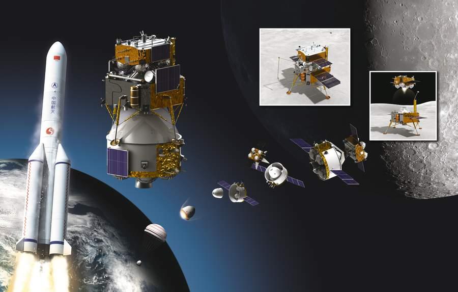 Cette illustration montre les composantes de l'ambitieuse mission de retour d'échantillons lunaires Chang'e 5 en Chine.