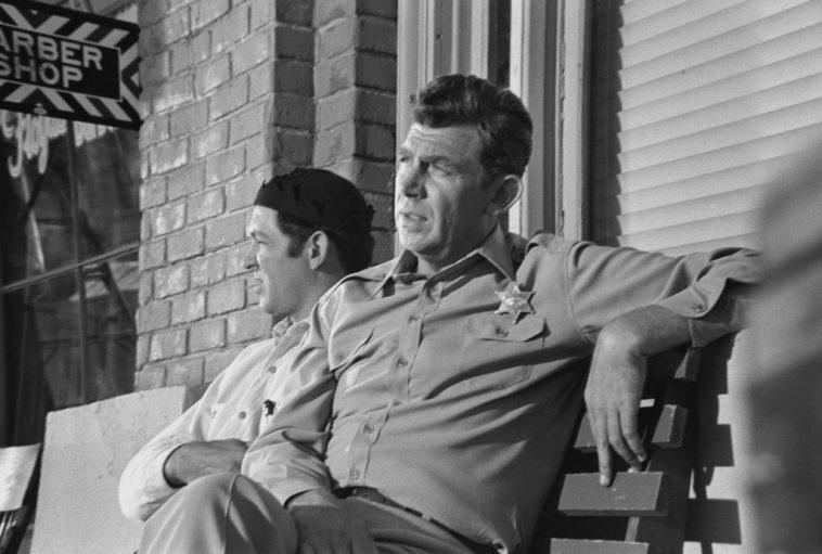 George Lindsey, left, and Andy Griffith on