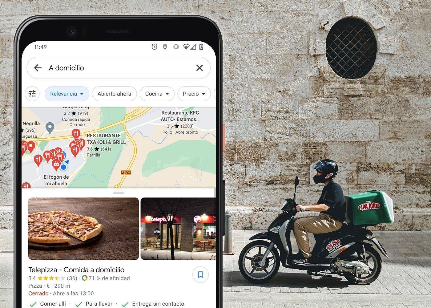 Livraison de nourriture sur Google Maps