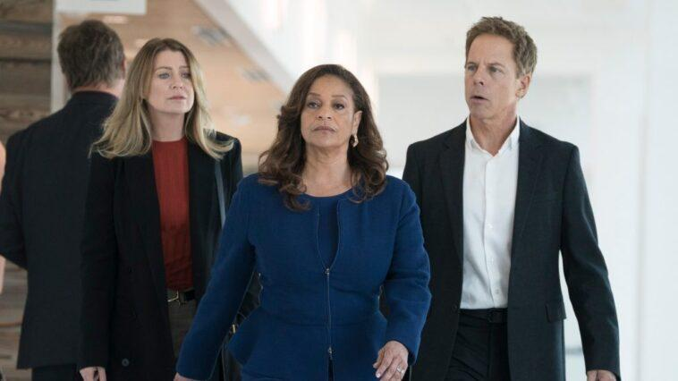 Ellen Pompeo as Meredith Grey, Debbie Allen as Catherine Fox, and Greg Germann as Tom Koracick on