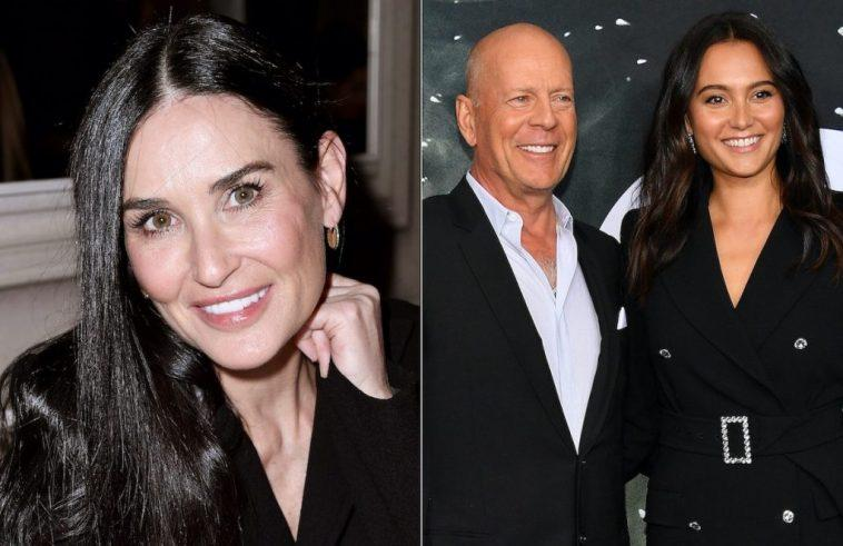 Demi Moore (left) and Bruce Willis and Emma Heming Willis (right)