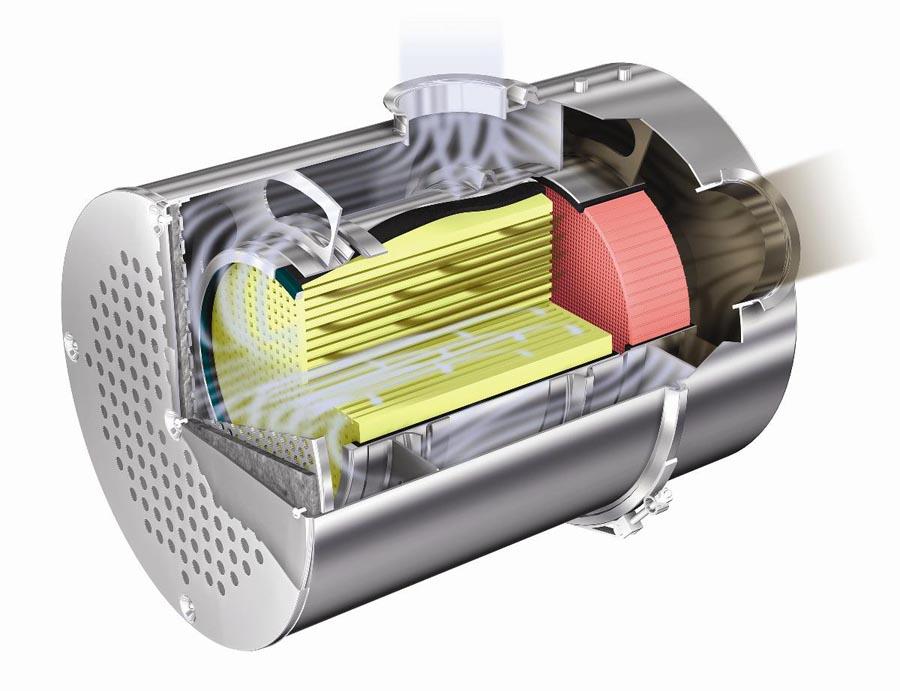 Placé à l'avant du système d'échappement, le filtre à particules est capable de retenir environ 80% des particules lourdes de la combustion