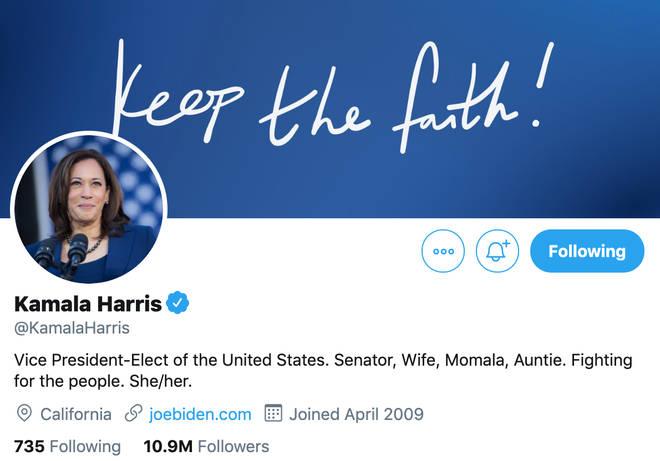 Bio de Kamala Harris sur Twitter