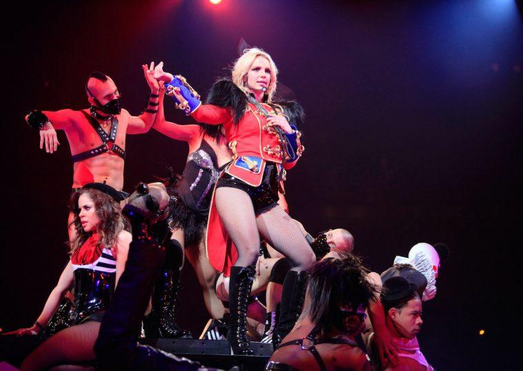 """Singer Britney Spears performs onstage during the opening night of """"The Circus Starring Britney Spears"""" tour"""