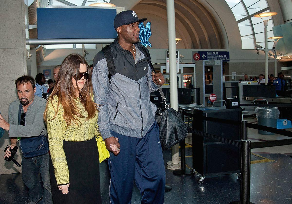 Khloe Kardashian and Lamar Odom are seen at Los Angeles International Airport on May 04, 2012 in Los Angeles, California.