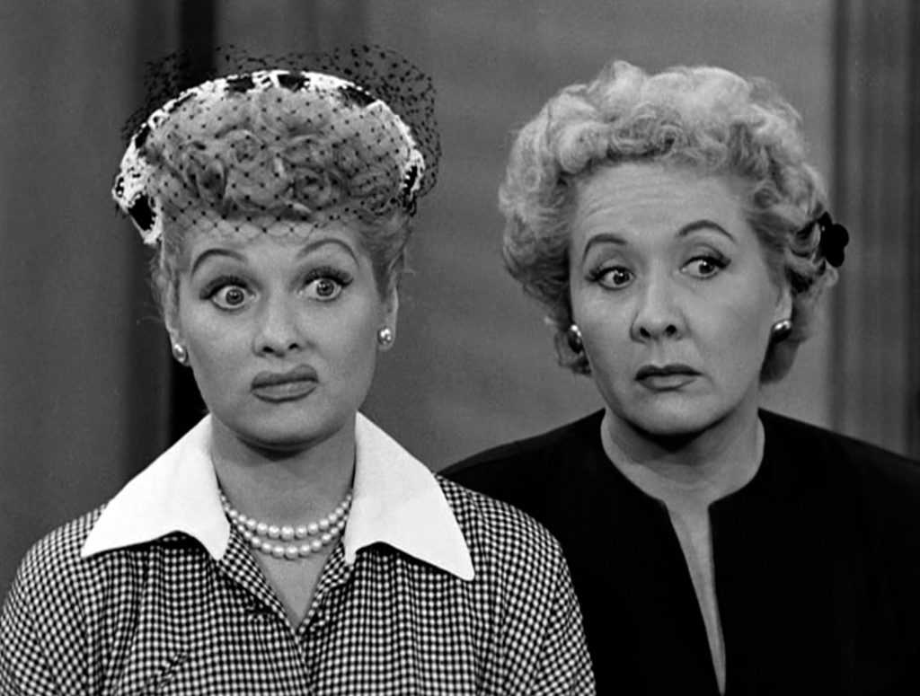 Lucille Ball, left, and Vivian Vance in a scene from